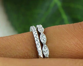 Art Deco Wedding Band and Half Eternity Band, Thin Stacking Ring Set, Small Engagement Ring, Man Made Diamond Simulants, Sterling Silver