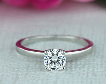 1/2 ct Engagement Ring, Classic Solitaire Ring, Man Made Diamond Simulant, Wedding Ring, Bridal Ring, Promise Ring, Sterling Silver