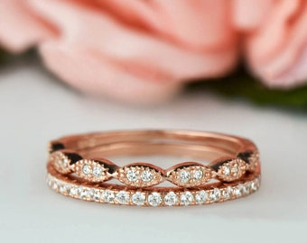 Art Deco Wedding Band and Half Eternity Band Set, Dainty 1.5mm Engagement Ring, Man Made Diamond Simulant, Sterling Silver, Rose Gold Plated