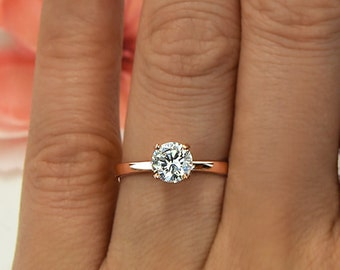 Sz 4, 8, 9: 1 ct 4 Prong Solitaire Promise Engagement Ring, Man Made Diamond Simulant, Sterling Silver, Rose Gold Plated, 60% Final Sale