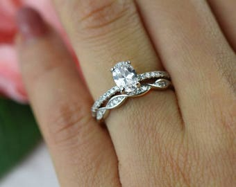 1 25 Ctw Oval Art Deco Swirl Wedding Set Solitaire Ring Half Etsy