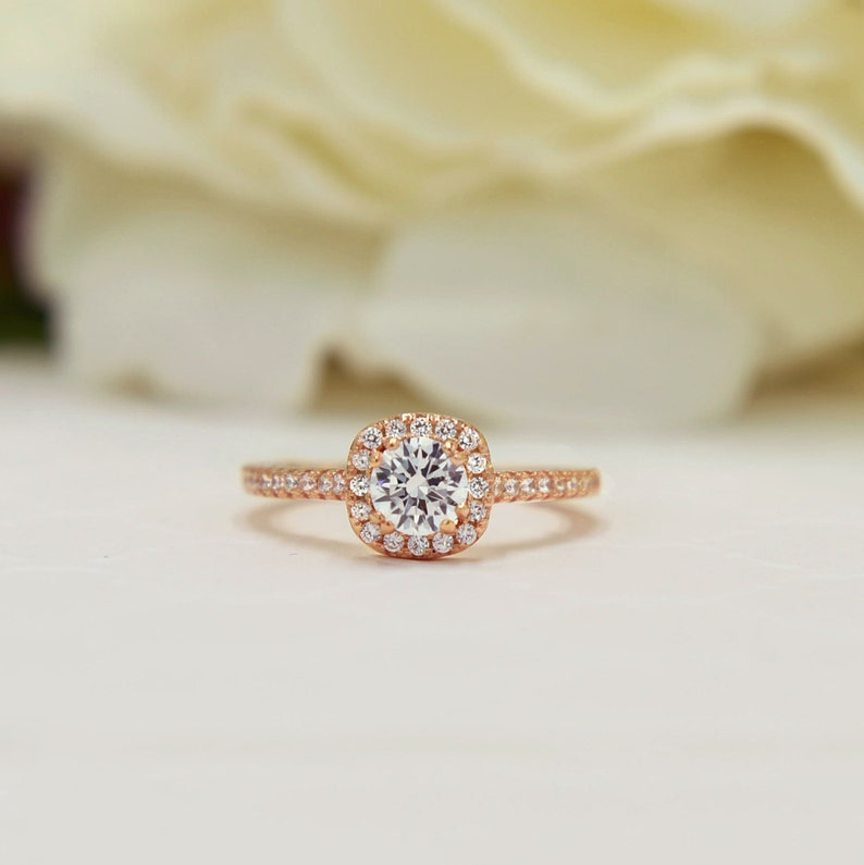 0330a4233b9ef 3/4 ctw Classic Square Halo Promise Ring, Man Made Diamond Simulant, Half  Eternity Ring, Engagement Ring, Sterling Silver, Rose Gold Plated