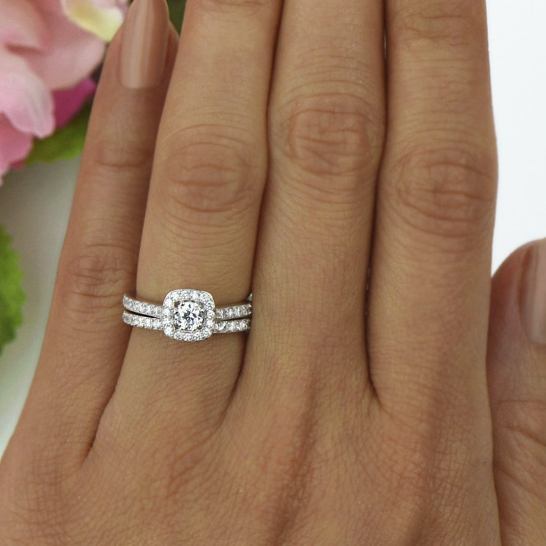 Sz 5 or 8: 3/4 ctw Wide Square Halo Bridal Set, Half Eternity Engagement  Ring, Man Made Diamond Simulant, Sterling Silver, 40% Final Sale