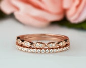 Art Deco Wedding Band and Half Eternity Band Set, Thin 1.5mm Engagement Ring, Man Made Diamond Simulants, Sterling Silver, Rose Gold Plated