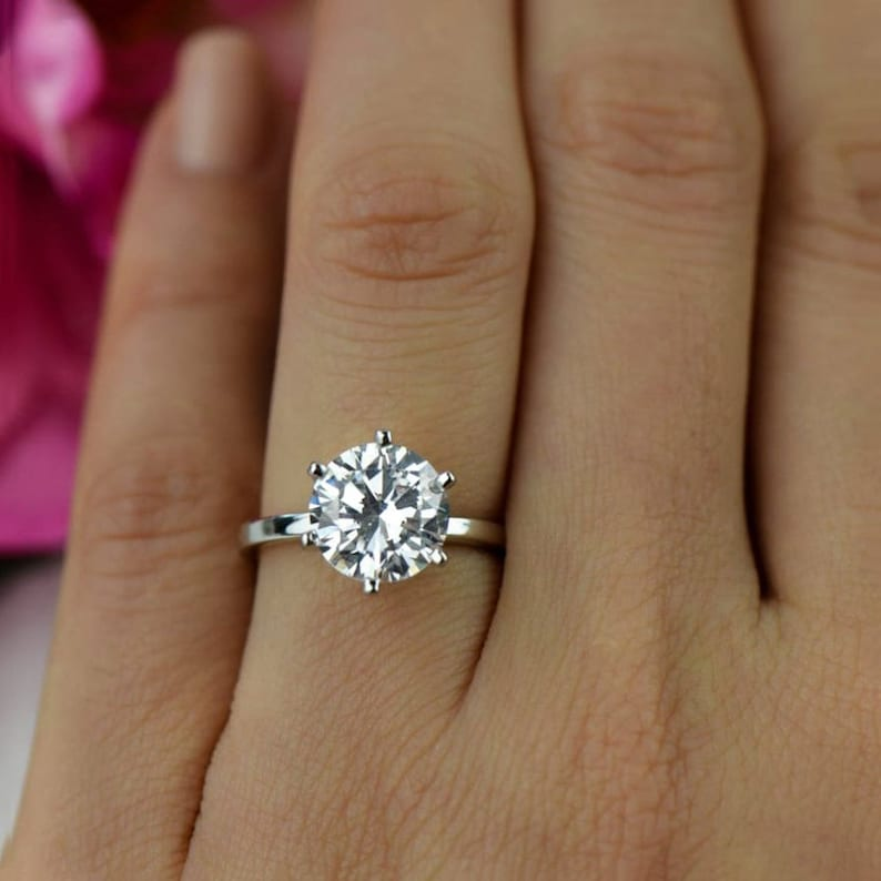 3 Ct Round Solitaire Engagement Ring Classic 6 Prong Wedding Etsy