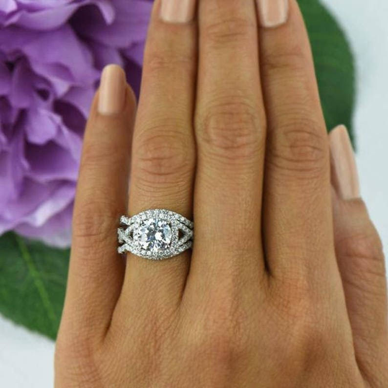 2.25 ctw Twisted Halo Ring 3 Band Wedding Set Engagement  ee1112f6df