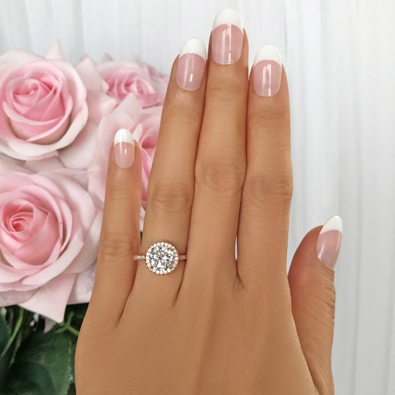 Man Made Diamond Simulants Sterling Silver 2.25 ctw Classic Round Halo Engagement Ring Wedding Ring Bridal Ring Rose Gold Plated