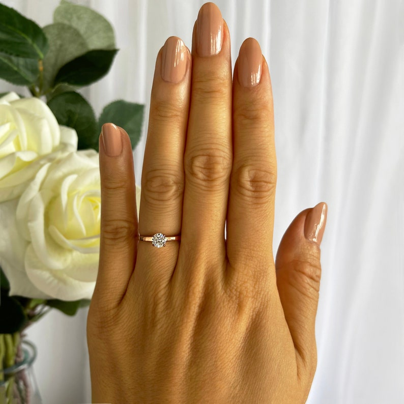 More sizes 1/2 ct Promise Ring Engagement Ring Round image 1