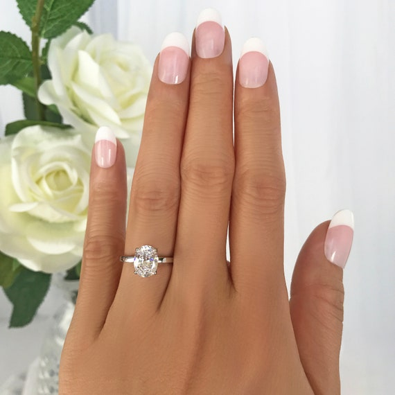 Solitaire Oval Cut Unique Engagement RingFancy Wedding Bridal RingGift For HerProposal Rings2.00 CT Diamond925 Silver14K White Gold
