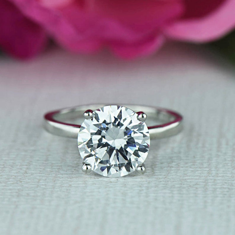 3 Ct Classic Solitaire Engagement Ring Man Made Diamond Etsy