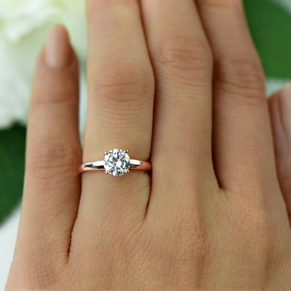Sz 10 1 Ct Low Profile Solitaire Engagement Ring Man Made Etsy