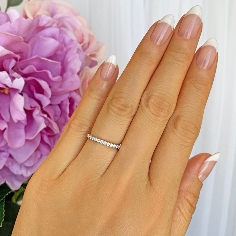More Sizes Small Half Eternity Ring 1.5mm Wedding Band image 0