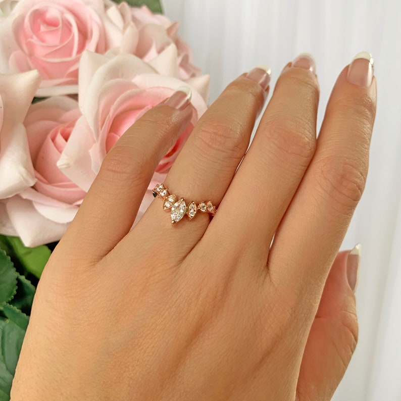 Marquise Art Deco Nesting Band Rose Gold Plated Half Eternity Tiara Stacking Contour Band Sterling Silver Man Made Diamond Simulants