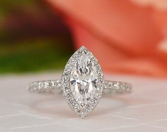 1.25 ctw Marquise Cut Halo Engagement Ring, Man Made Diamond Simulant, Half Eternity Wedding Ring, Promise Ring, Sterling Silver