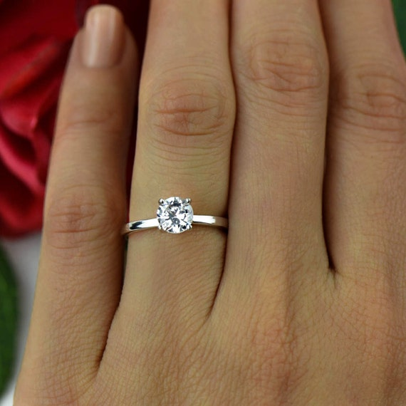Sz 10 Or 12 1 Ct Classic Solitaire Engagement Ring Round Man Etsy