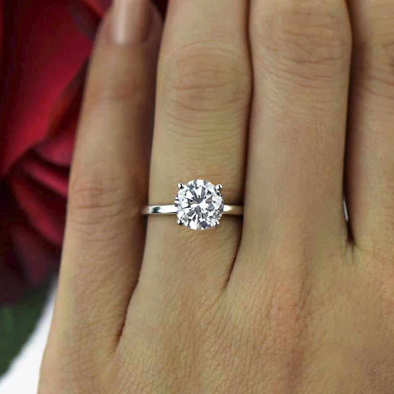 2 Ct 4 Prong Engagement Ring Classic Solitaire Ring Man Made Etsy