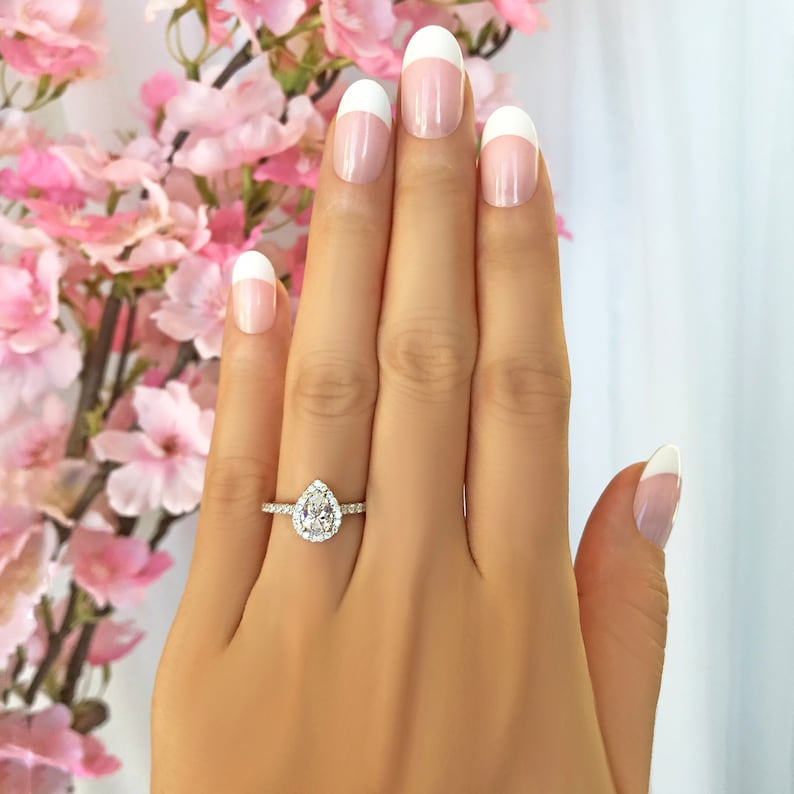 Man Made Diamond Simulants Sterling Silver Half Eternity Wedding Ring Engagement Ring Classic Halo Ring 1 ctw Pear Halo Promise Ring