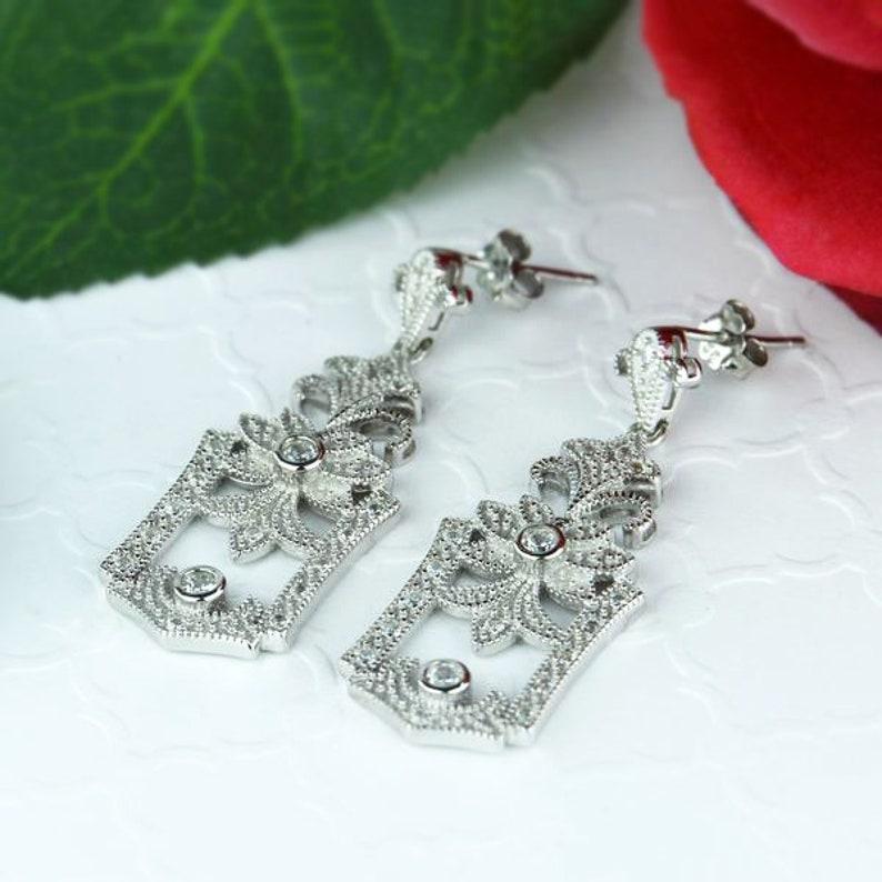 40/% Final Sale Man Made Diamond Simulants Sterling Silver Gatsby Style Vintage Inspired Chandelier Earrings Wedding Bridal Earrings