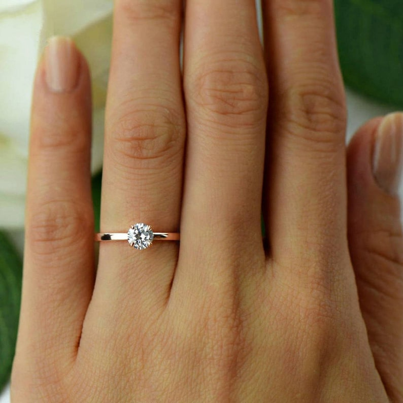 More sizes 1/2 ct Promise Ring Engagement Ring Round image 0