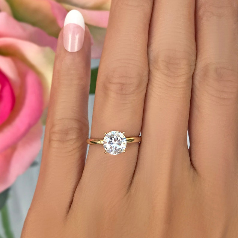 54a31f3819f9c 1.5 ct 14k Yellow Gold Solitaire Ring, Classic 4 Prong Engagement Ring, Man  Made Diamond Simulant, Wedding Bridal Promise Ring, Size 5-6.5