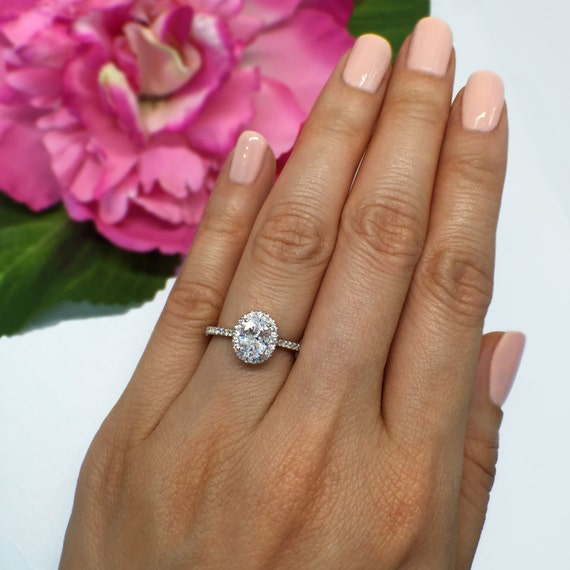 1 Ctw Oval Halo Promise Ring Halo Engagement Ring Pave Etsy