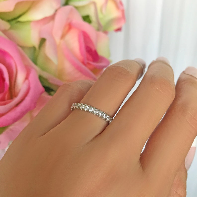 Man Made Diamond Simulant 2.7mm Wedding Band Layering Bridal Ring Minimalist Engagement Ring Sterling Silver 1 ctw Full Eternity Ring
