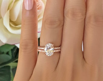 2.25 ctw Oval Accented Solitaire Bridal Set,  Half Eternity Engagement Ring, Man Made Diamond Simulants, Sterling Silver, Rose Gold Plated
