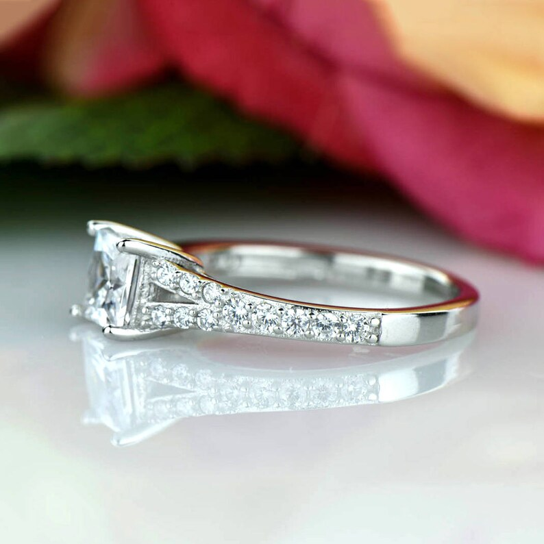 Sterling Silver Sale 1 ctw Princess Split Shank Promise Ring Bridal Engagement Ring Man Made Diamond Simulant Accented Solitaire Ring