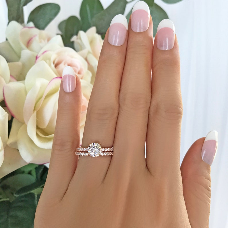 Sterling Silver 1.25 ctw 1 ct Round Accented Solitaire Bridal Set Half Eternity Wedding Band Rose Gold Plated Man Made Diamond Simulants