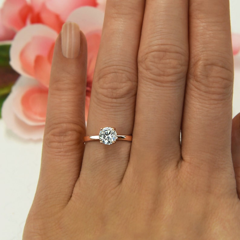 1 Ct Promise Ring 4 Prong Solitaire Ring Man Made Diamond Etsy