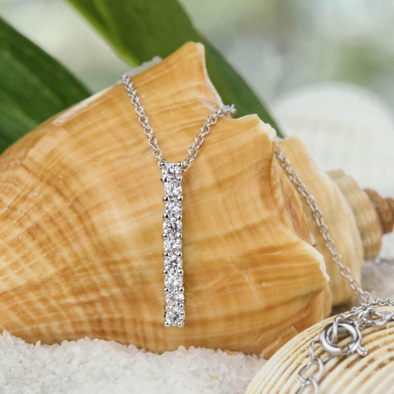 Sterling Silver 12 ctw 9 Stone Necklace Delicate Bridal Necklace Man Made Diamond Simulants Anniversary Necklace Single Bar Necklace