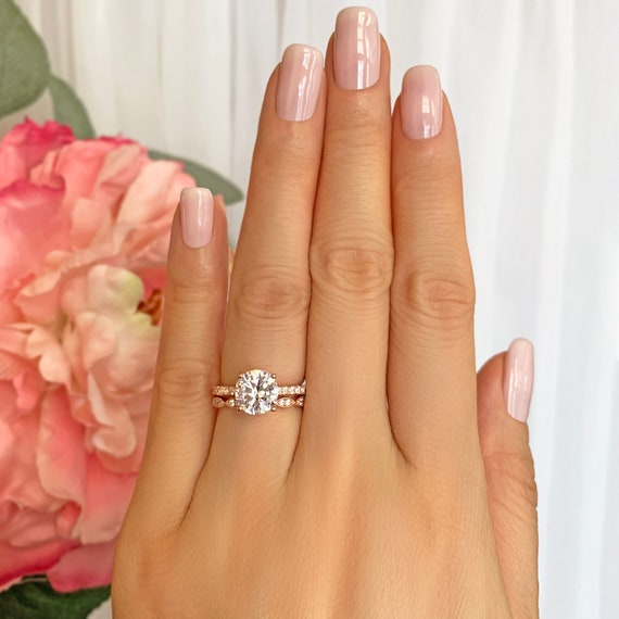 2.25 ctw Round Accented Solitaire Art Deco Bridal Wedding Set, Man Made Diamond Simulants, Sterling Silver, Rose Gold Plated, 40% Final Sale