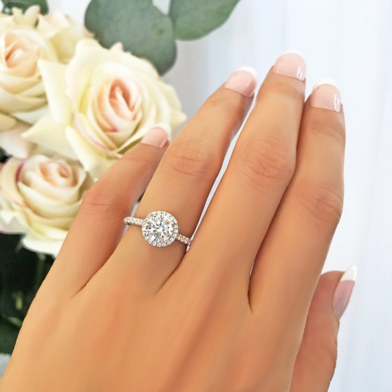 Engagement Ring 1.5 ctw Round Classic Halo Ring Sterling Silver Half Eternity Ring Promise Ring Man Made Diamond Simulant Wedding Ring