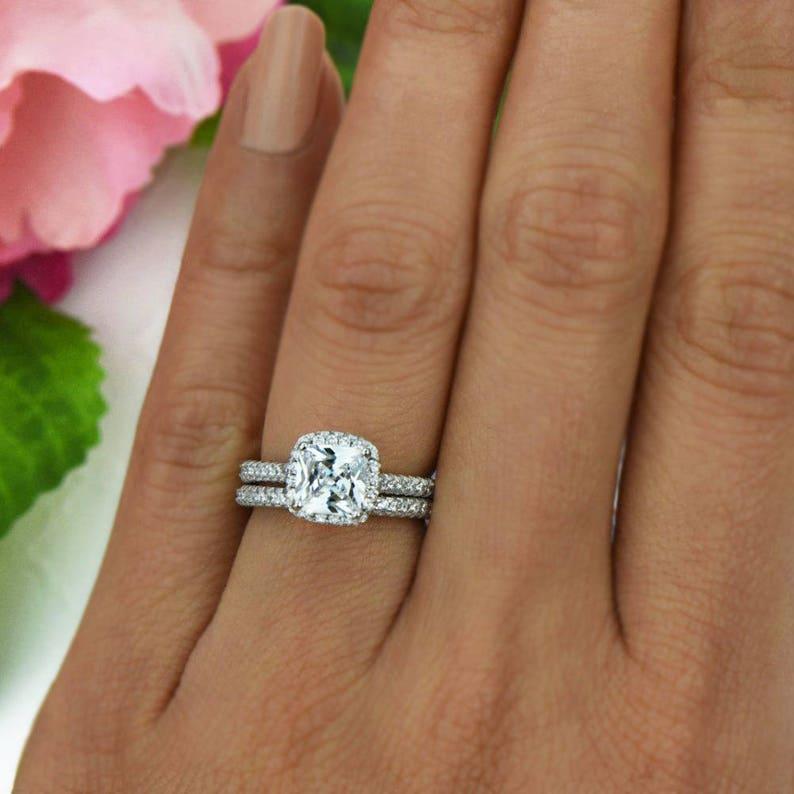 2 Ctw Princess Cut Bridal Set Classic Halo Wedding Ring Man Etsy