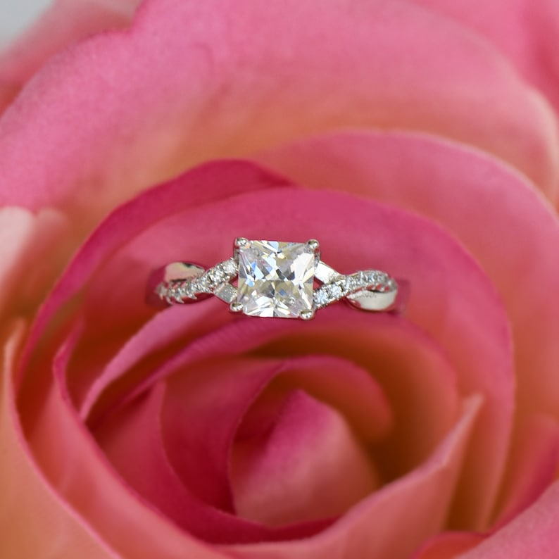 9: 1 ctw Princess Twisted Infinity Engagement Ring Sterling Silver Man Made Diamond Simulants Sz 4 Swirl Half Eternity Promise Ring 5