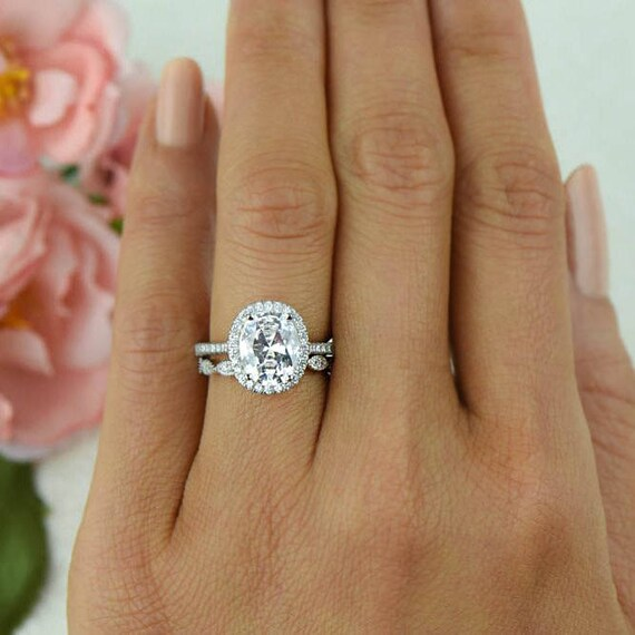 3 25 Ctw Vintage Style Bridal Set Oval Halo Ring Man Made Etsy
