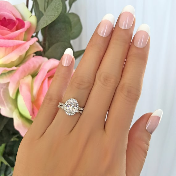2.25 ctw Vintage Style Oval Halo Wedding Set, Oval Halo Pave Engagement  Ring, Man Made Diamond Simulants, Art Deco Band, Sterling Silver