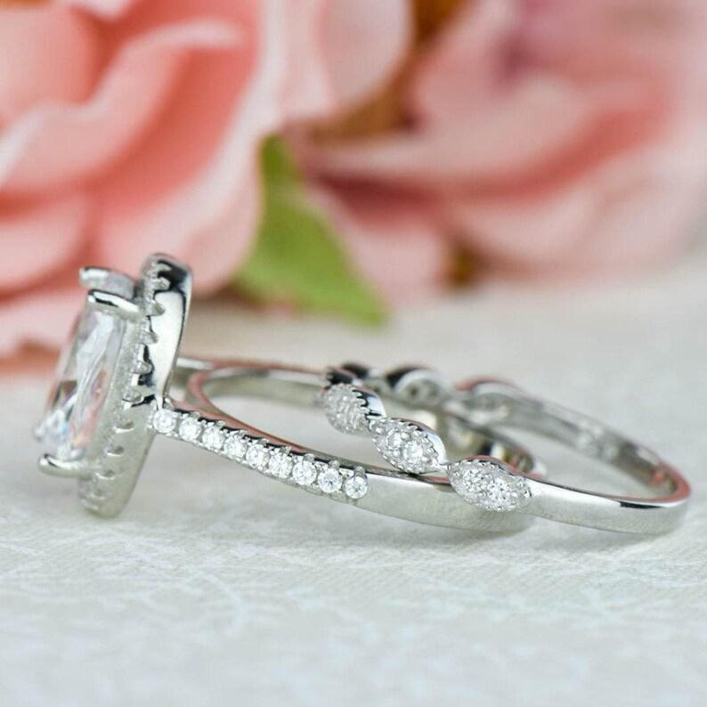Oval Halo Ring Sterling Silver Art Deco Wedding Set Engagement Ring Man Made Diamond Simulants 3.25 ctw Vintage Style Bridal Set
