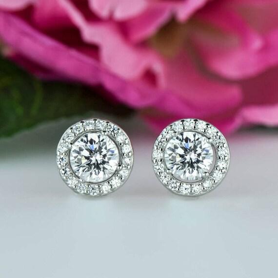 3 Ctw Round Halo Earrings Stud Earrings Man Made Diamond