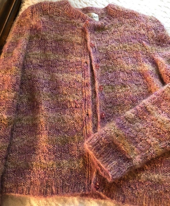 Vintage mohair and wool striped cardigan , by Nat