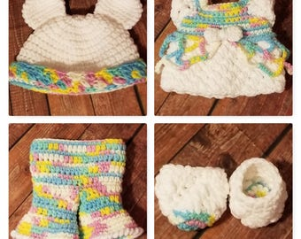 Pookie and Pals Retro Outfit with bear and unicorn hat crochet pattern