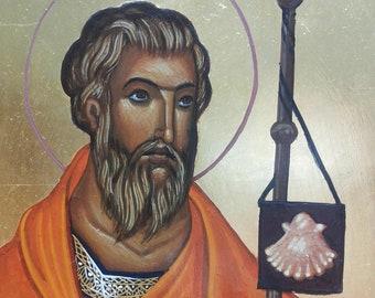 Saint Jacob (Santiago de Compostella) - handpainted orthodox icon - MADE TO ORDER