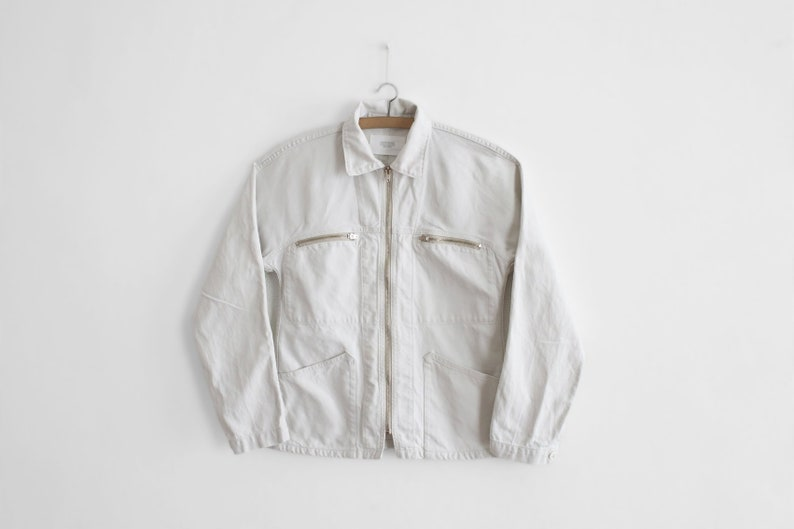 best site choose best up-to-datestyling Vintage White Work Jacket - French Worker/painter - Chore - Mens Sz. XS  Womens S/M