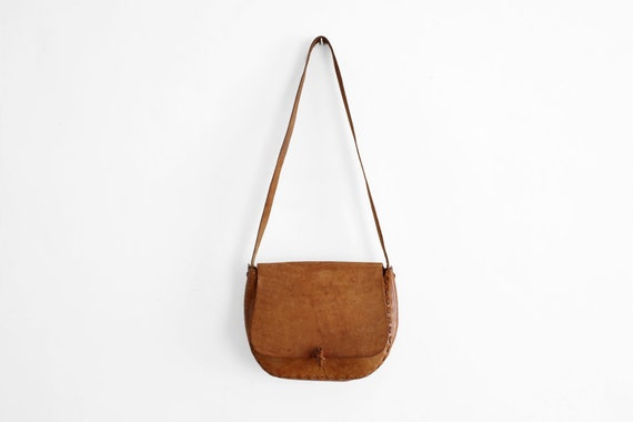 1970s Tan Leather Purse - Hand Tooled