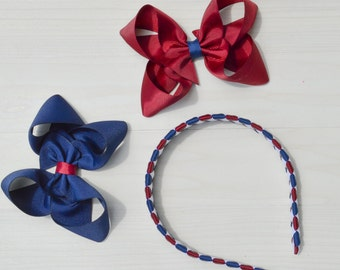 Uniform headband set / School uniform headband / school uniform hair accessories / uniform hair bow / Green and yellow headband / plaid bow