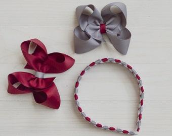 Maroon and gray uniform headband / School uniform headband / back to school hair accessories / uniform hair bow / plaid headband / bow set