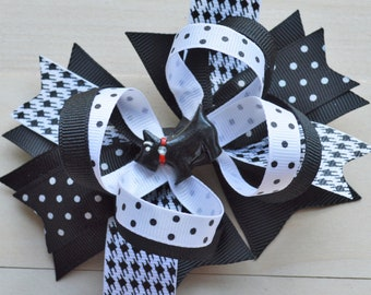 Scottie hair bow - Boutique bow for girls - Dog hair bow for child - Puppy Hair clip for girls - 5 inch Bow for girls - Houndstooth bow