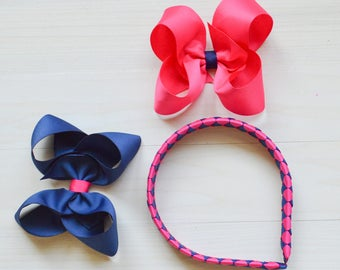 Pink and Navy headband, back to school headband, hot pink and blue hairband for girls, uniform bows