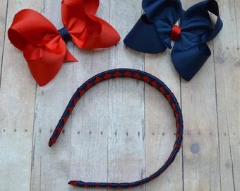 School uniform headband  / school uniform hair accessories / uniform hair bow / red and blue headband / Plaid headband / headband and bow