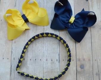 School uniform bows, Back to school headband, made to match school uniform, yellow and blue headband,  yellow and navy blue bows